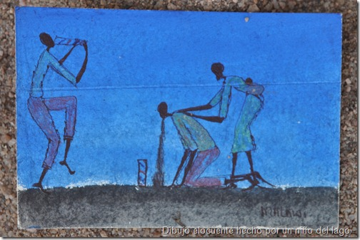 Dibujo de un niño del lago para una asociación que luego vende las postales a turistas