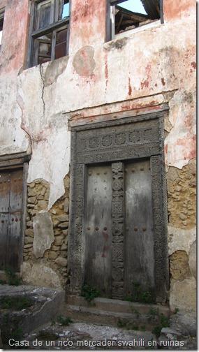 Casa de un rico mercader swahili en ruinas