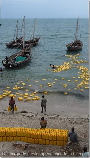 Aprovechando la marea descargan el aceite, que flota. Para el resto de mercancías esperarán a que baje un poco la marea. Al final, los barcos reposan apoyados en la arena y necesitan que vuelva a subir la marea para salir